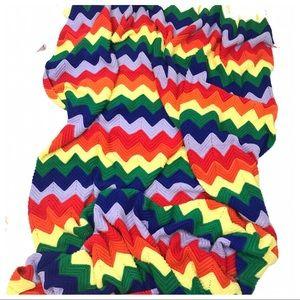 Vtg  Rainbow Chevron Stripe Crochet Large Afghan